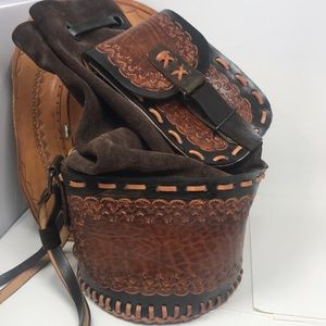 Bucket Bag Tooled Leather Handmade Sling Bag